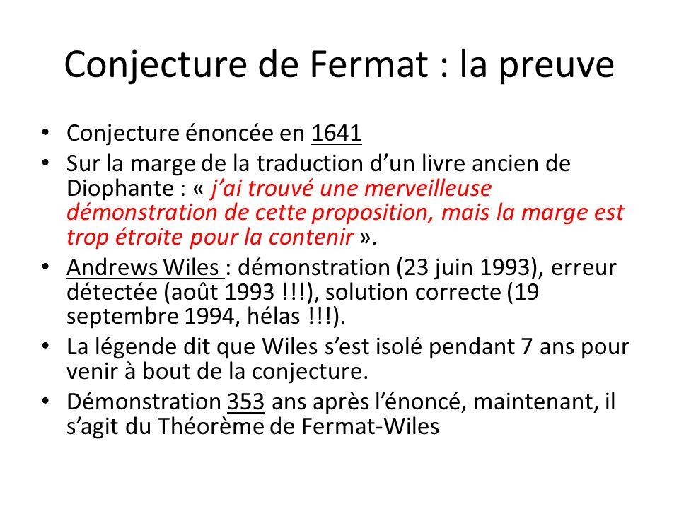 Conjecture de Fermat : la preuve