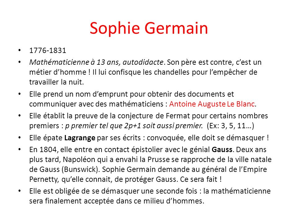 Sophie Germain 1776-1831.