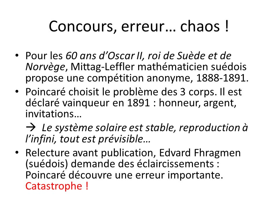 Concours, erreur… chaos !