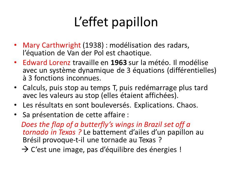 L'effet papillon Mary Carthwright (1938) : modélisation des radars, l'équation de Van der Pol est chaotique.