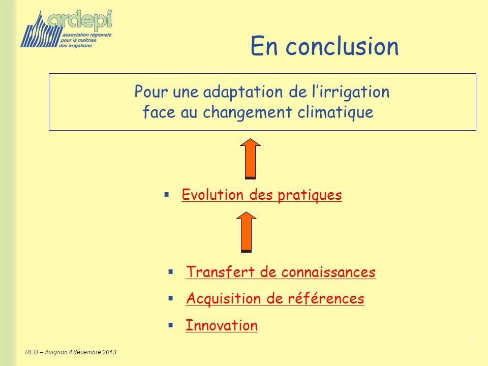 En conclusion Pour une adaptation de l'irrigation