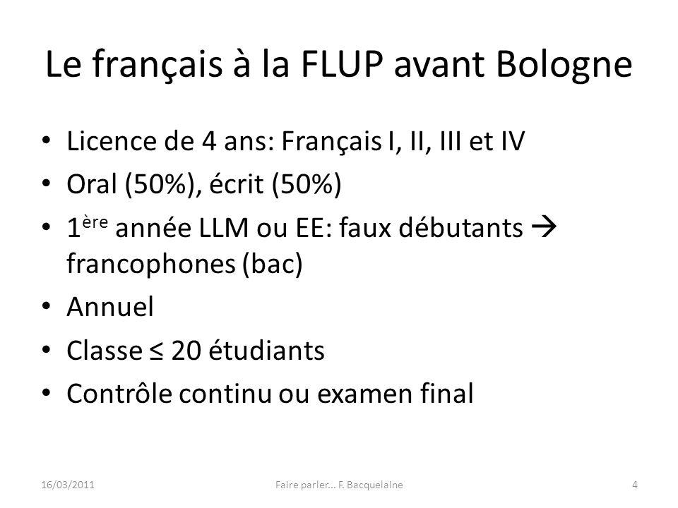Le français à la FLUP avant Bologne