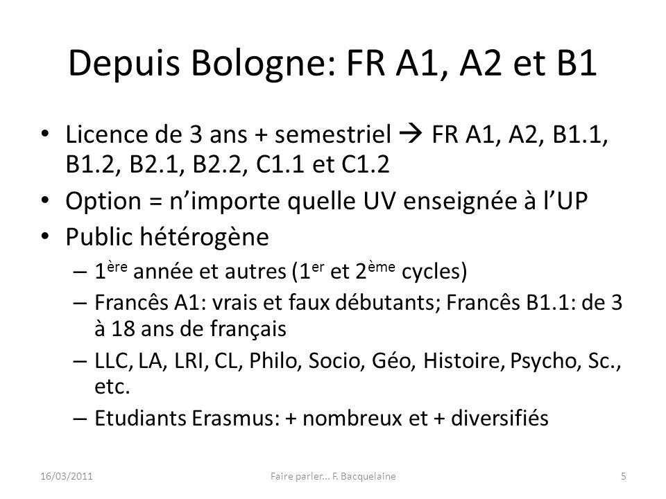 Depuis Bologne: FR A1, A2 et B1