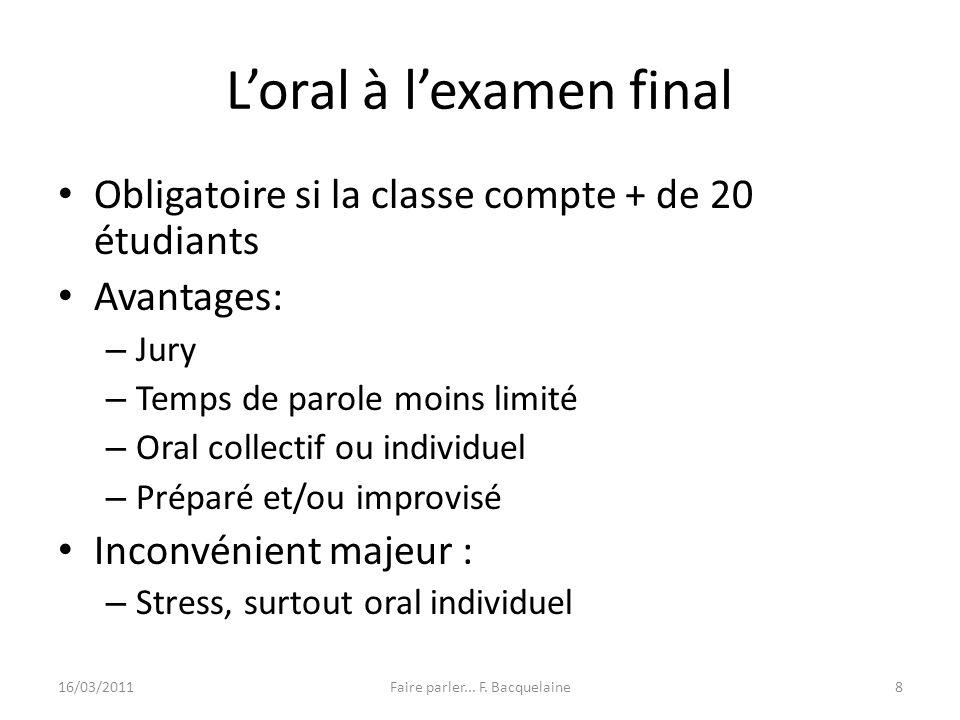 L'oral à l'examen final