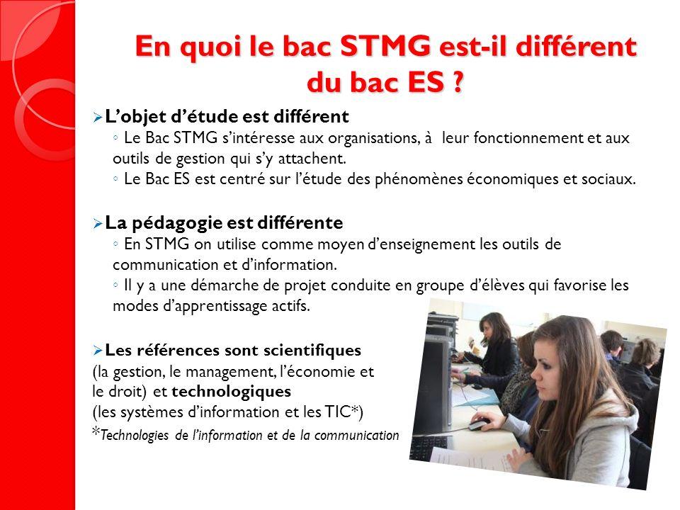 En quoi le bac STMG est-il différent du bac ES