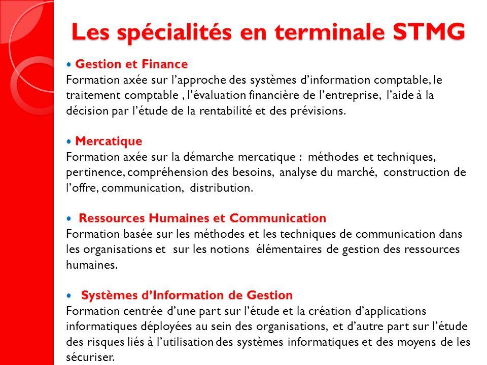 Les spécialités en terminale STMG