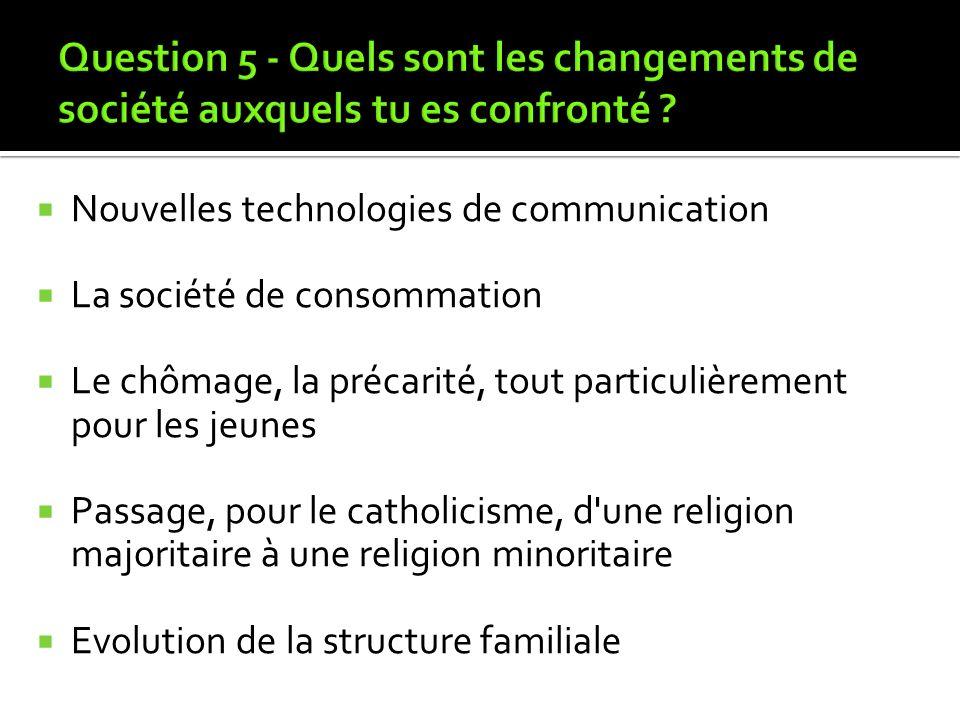 Question 5 - Quels sont les changements de société auxquels tu es confronté