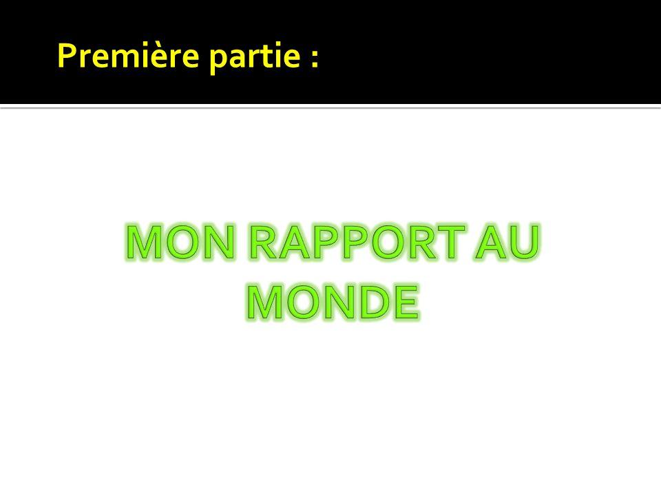 Première partie : MON RAPPORT AU MONDE