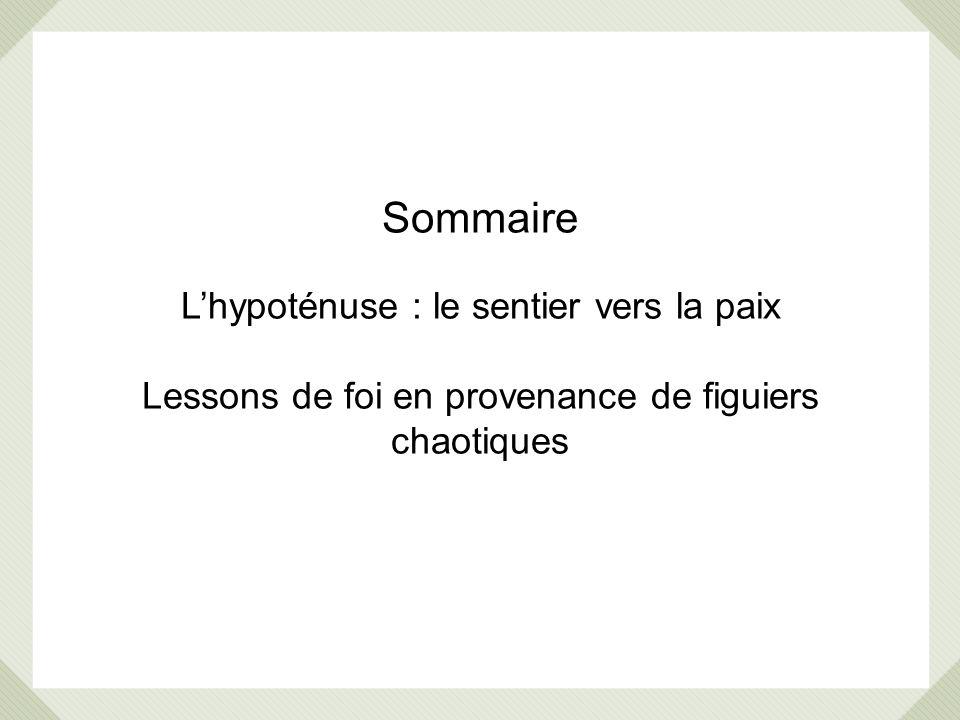 Sommaire L'hypoténuse : le sentier vers la paix Lessons de foi en provenance de figuiers chaotiques.