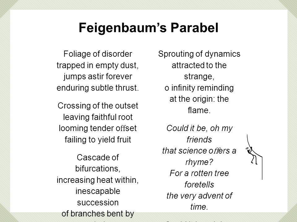 Feigenbaum's Parabel Foliage of disorder trapped in empty dust,