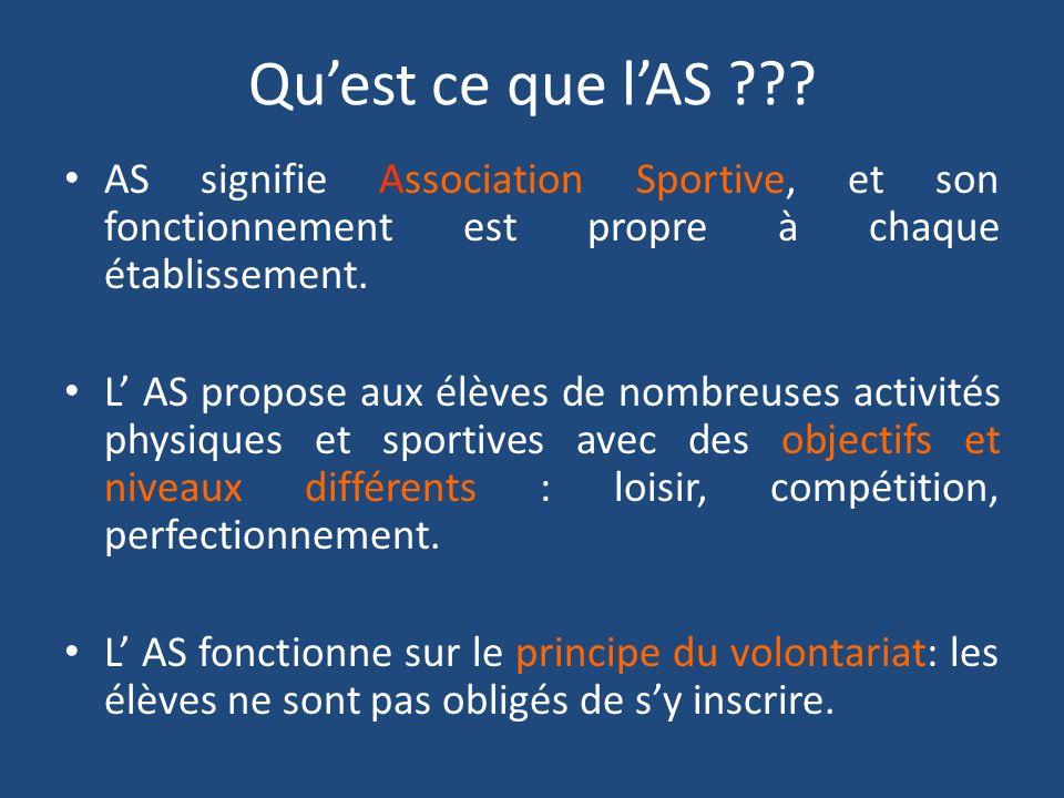 Qu'est ce que l'AS AS signifie Association Sportive, et son fonctionnement est propre à chaque établissement.