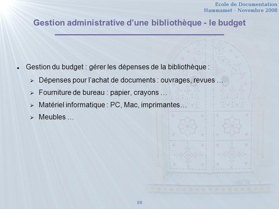 Gestion administrative d'une bibliothèque - le budget