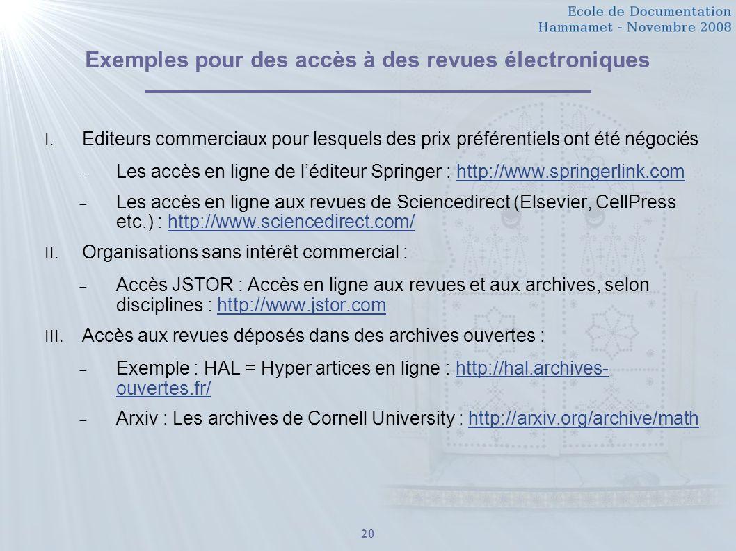 Exemples pour des accès à des revues électroniques