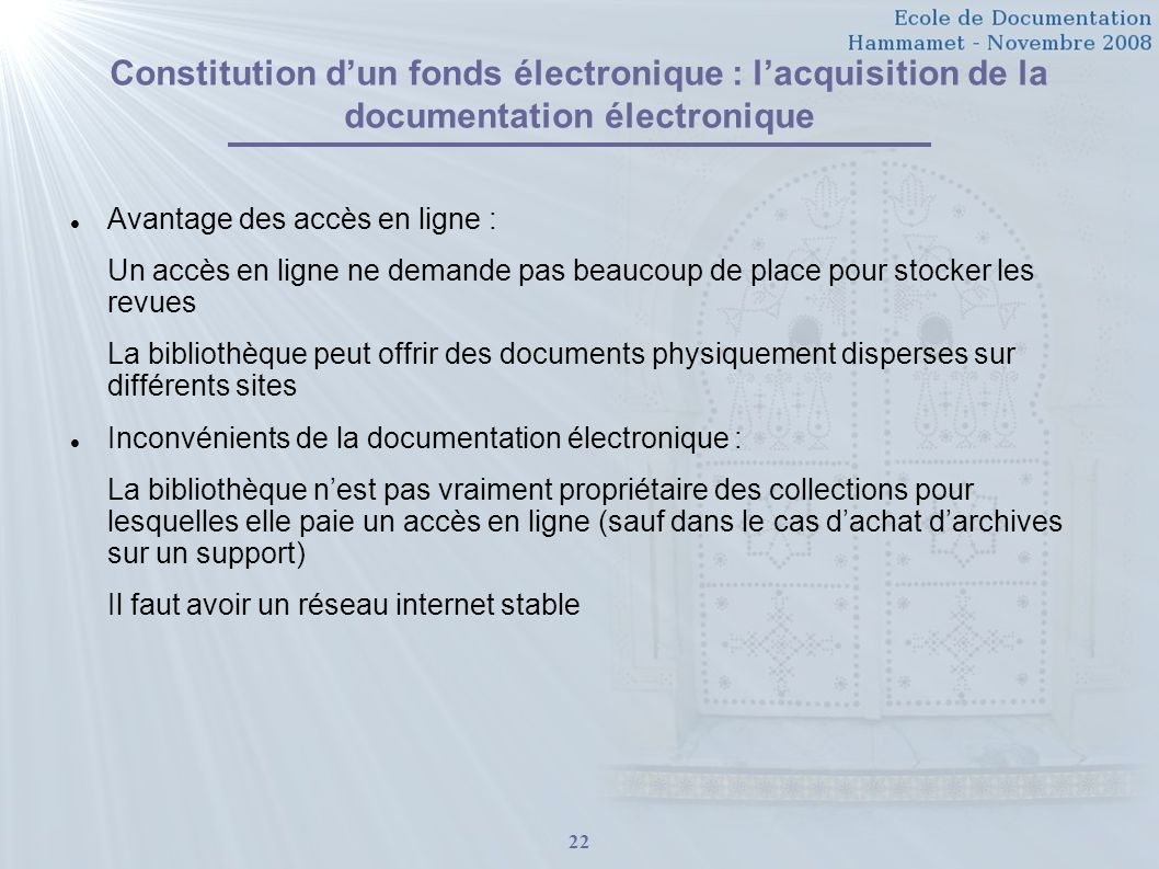 Constitution d'un fonds électronique : l'acquisition de la documentation électronique