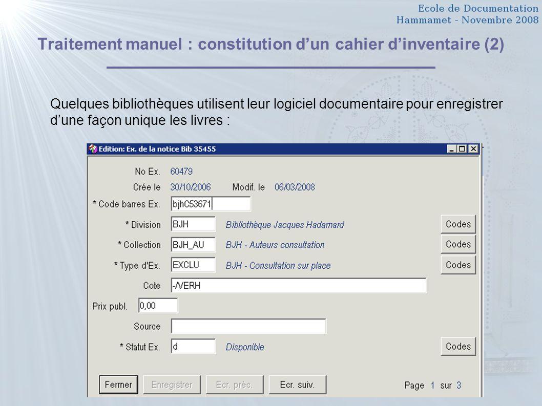 Traitement manuel : constitution d'un cahier d'inventaire (2)