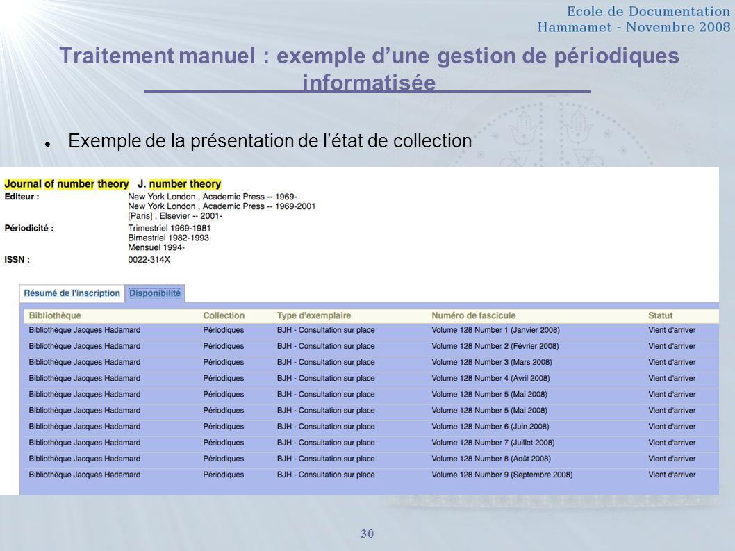 Traitement manuel : exemple d'une gestion de périodiques informatisée
