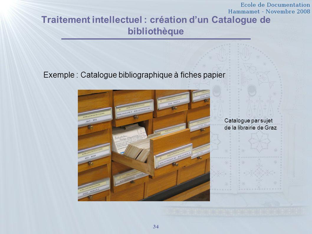 Traitement intellectuel : création d'un Catalogue de bibliothèque