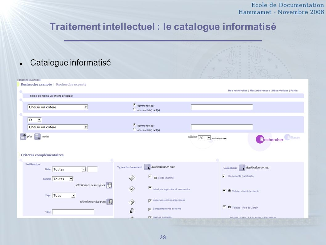 Traitement intellectuel : le catalogue informatisé