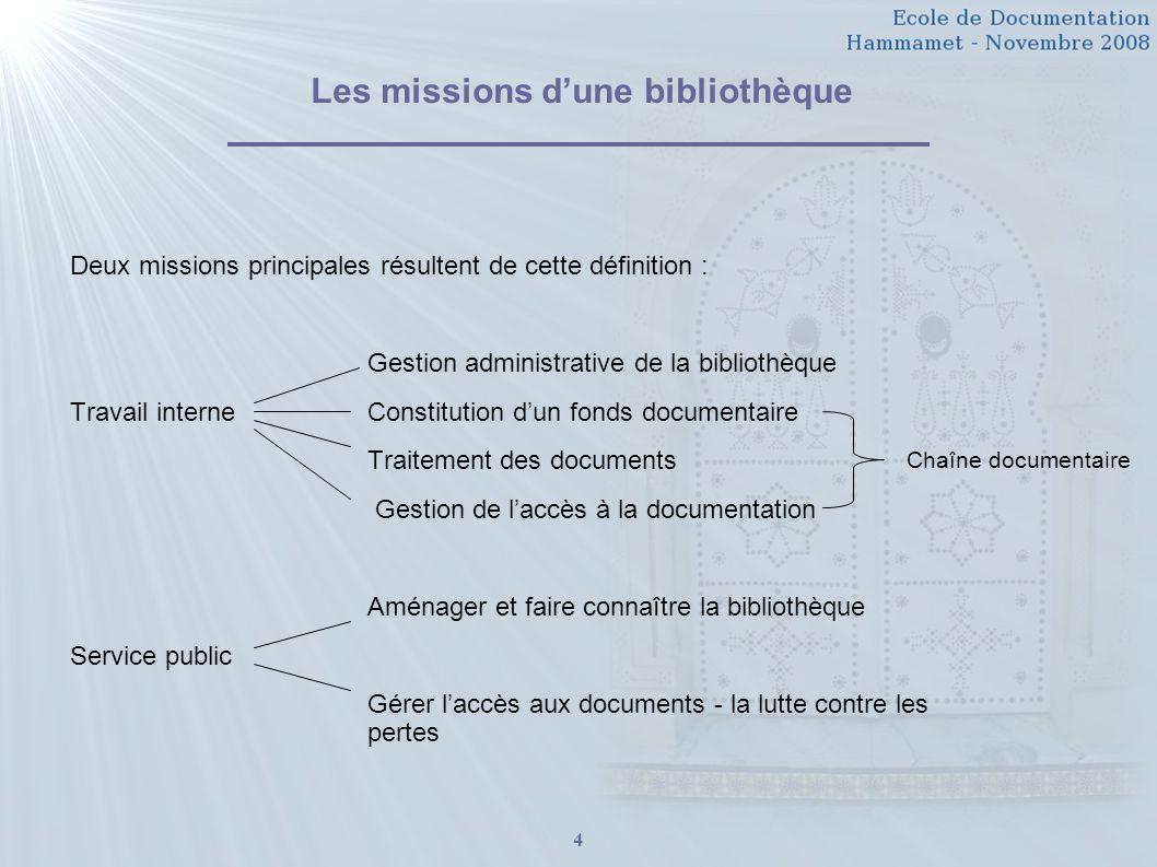 Les missions d'une bibliothèque