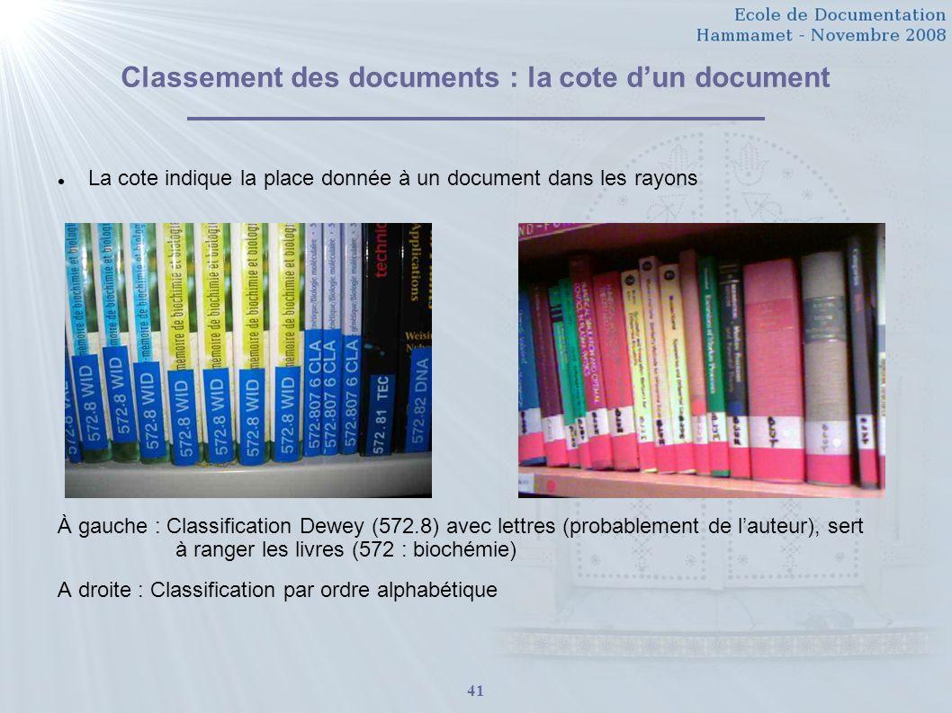 Classement des documents : la cote d'un document