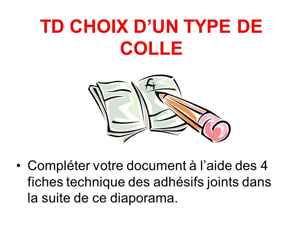 TD CHOIX D'UN TYPE DE COLLE
