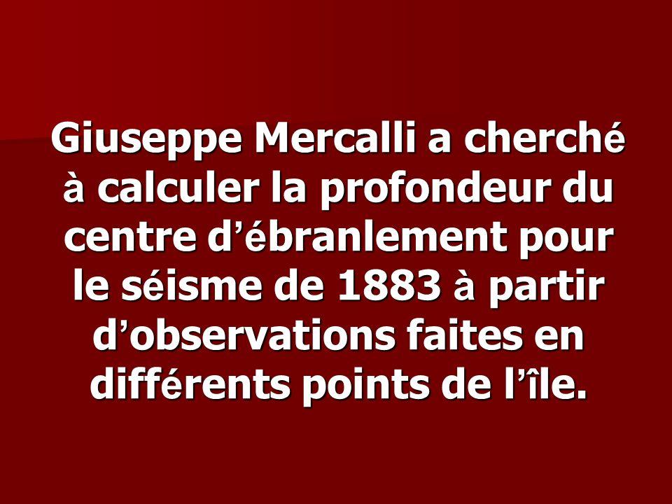 Giuseppe Mercalli a cherché à calculer la profondeur du centre d'ébranlement pour le séisme de 1883 à partir d'observations faites en différents points de l'île.