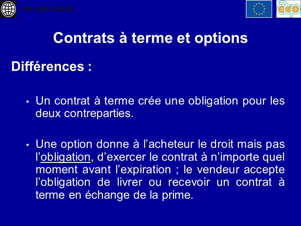 Contrats à terme et options