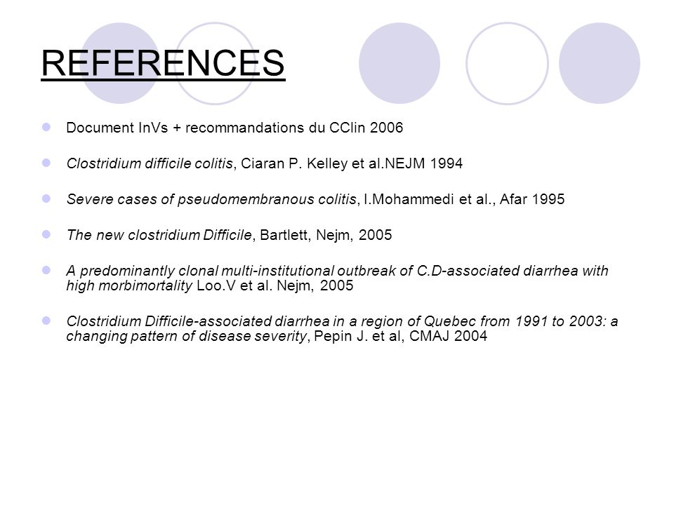 REFERENCES Document InVs + recommandations du CClin 2006