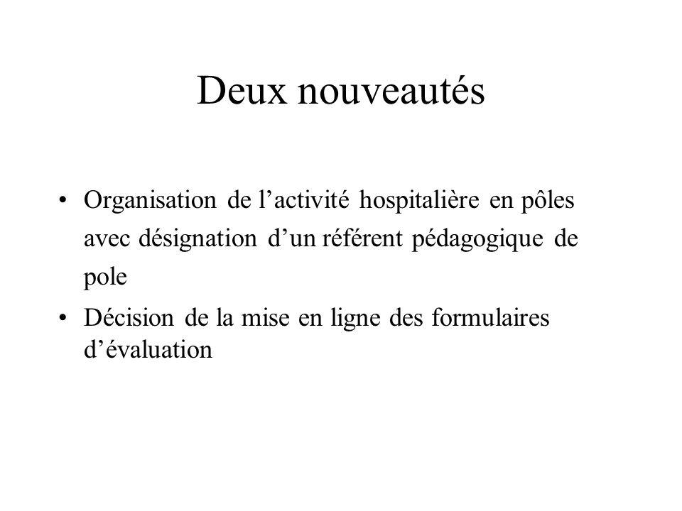 Deux nouveautésOrganisation de l'activité hospitalière en pôles avec désignation d'un référent pédagogique de pole.