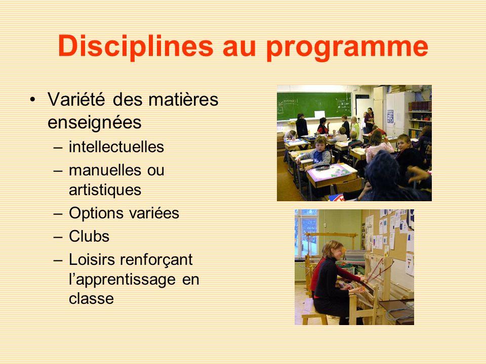 Disciplines au programme