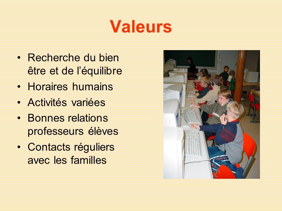 Valeurs Recherche du bien être et de l'équilibre Horaires humains