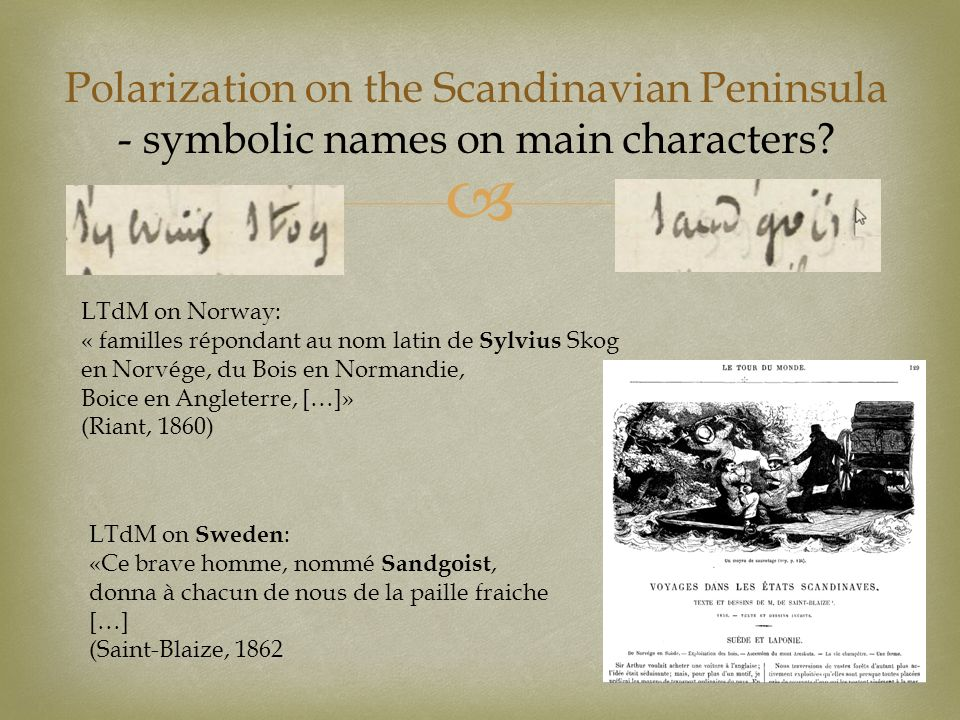 Polarization on the Scandinavian Peninsula - symbolic names on main characters