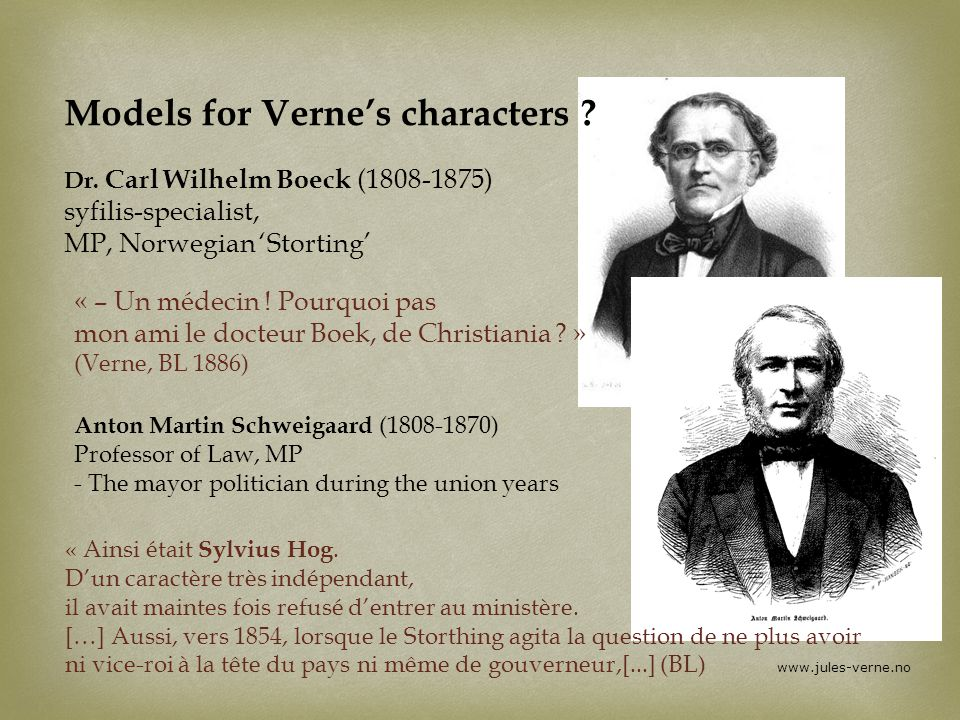 Models for Verne's characters. Dr