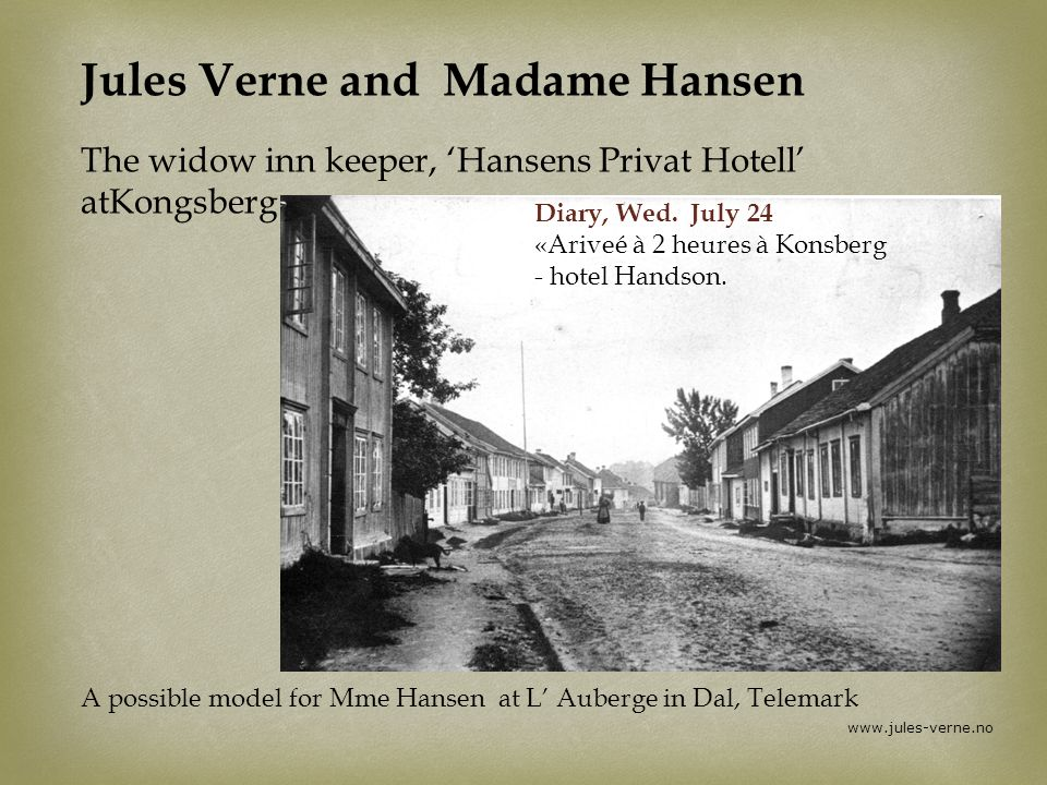 Jules Verne and Madame Hansen The widow inn keeper, 'Hansens Privat Hotell' atKongsberg