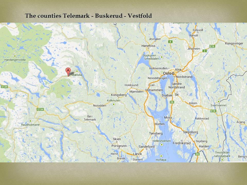 The counties Telemark - Buskerud - Vestfold