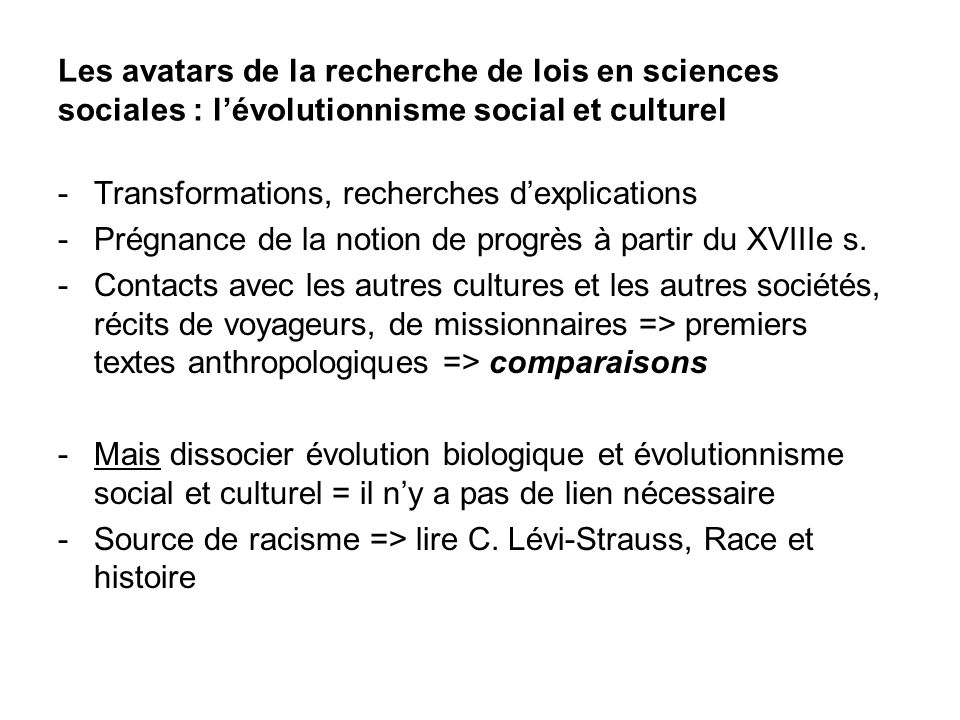 Les avatars de la recherche de lois en sciences sociales : l'évolutionnisme social et culturel