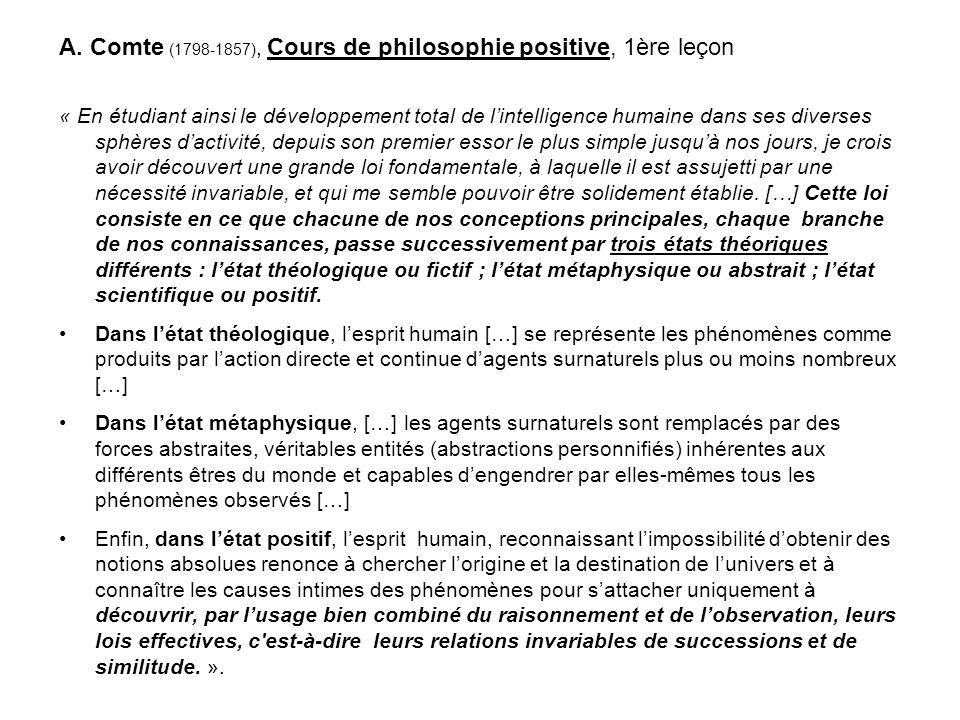 A. Comte (1798-1857), Cours de philosophie positive, 1ère leçon