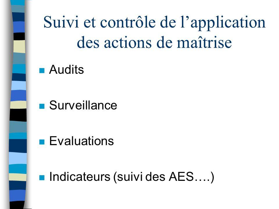 Suivi et contrôle de l'application des actions de maîtrise