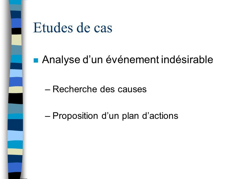 Etudes de cas Analyse d'un événement indésirable Recherche des causes