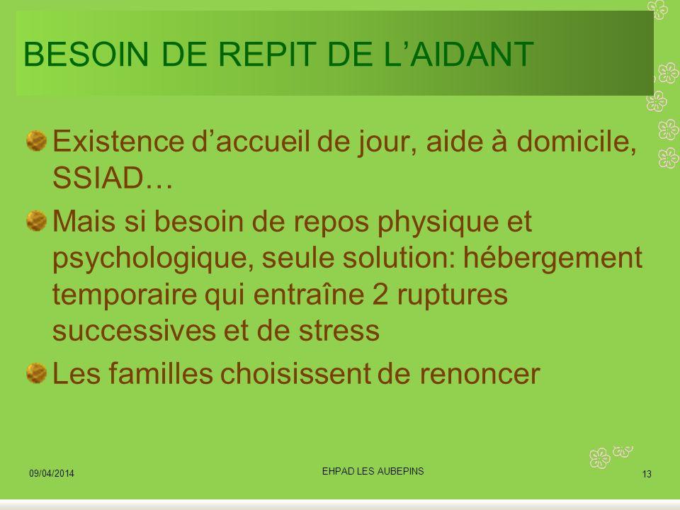 BESOIN DE REPIT DE L'AIDANT