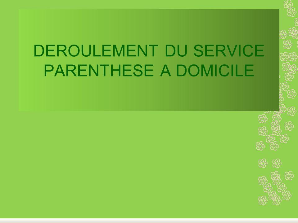 DEROULEMENT DU SERVICE PARENTHESE A DOMICILE