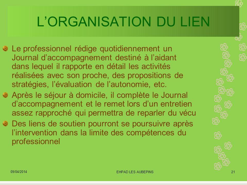 L'ORGANISATION DU LIEN