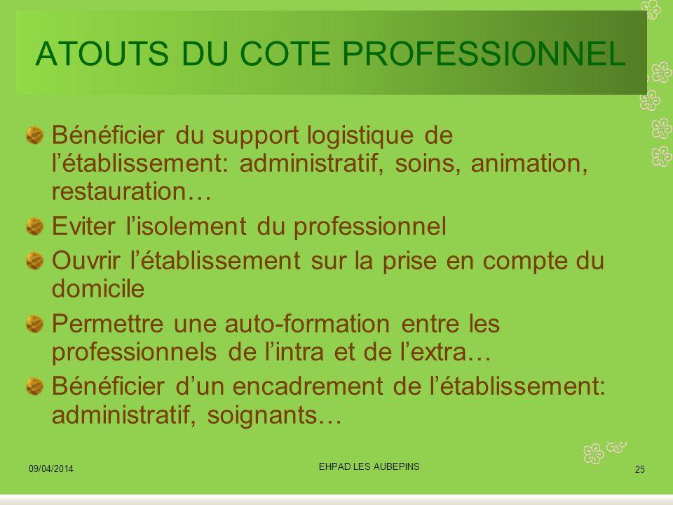 ATOUTS DU COTE PROFESSIONNEL