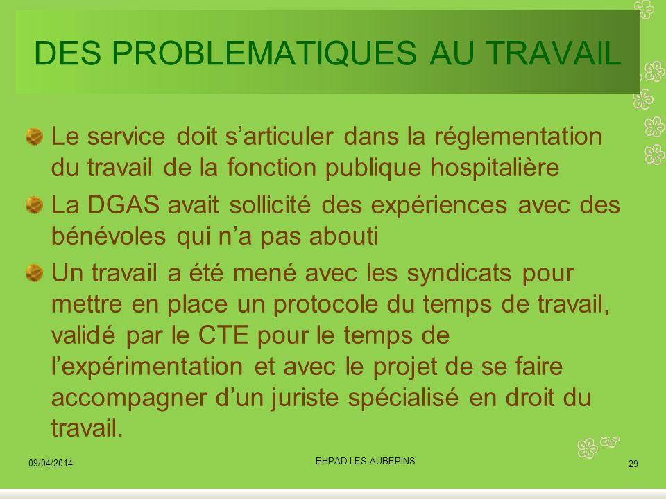 DES PROBLEMATIQUES AU TRAVAIL