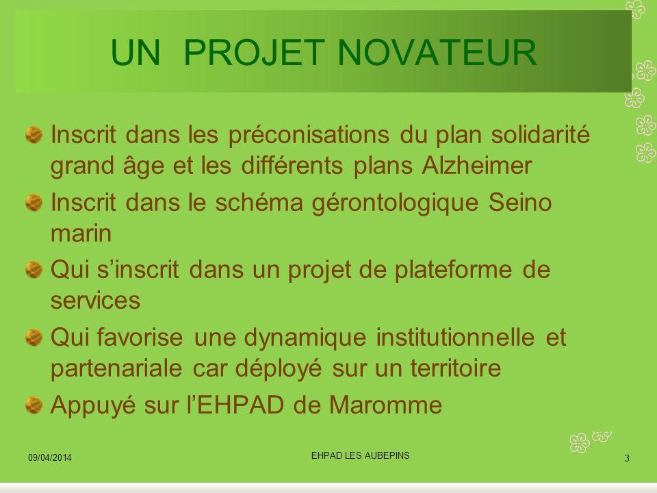 UN PROJET NOVATEUR Inscrit dans les préconisations du plan solidarité grand âge et les différents plans Alzheimer.