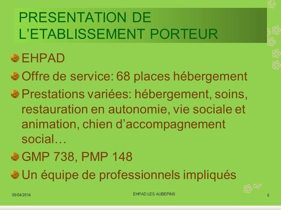 PRESENTATION DE L'ETABLISSEMENT PORTEUR