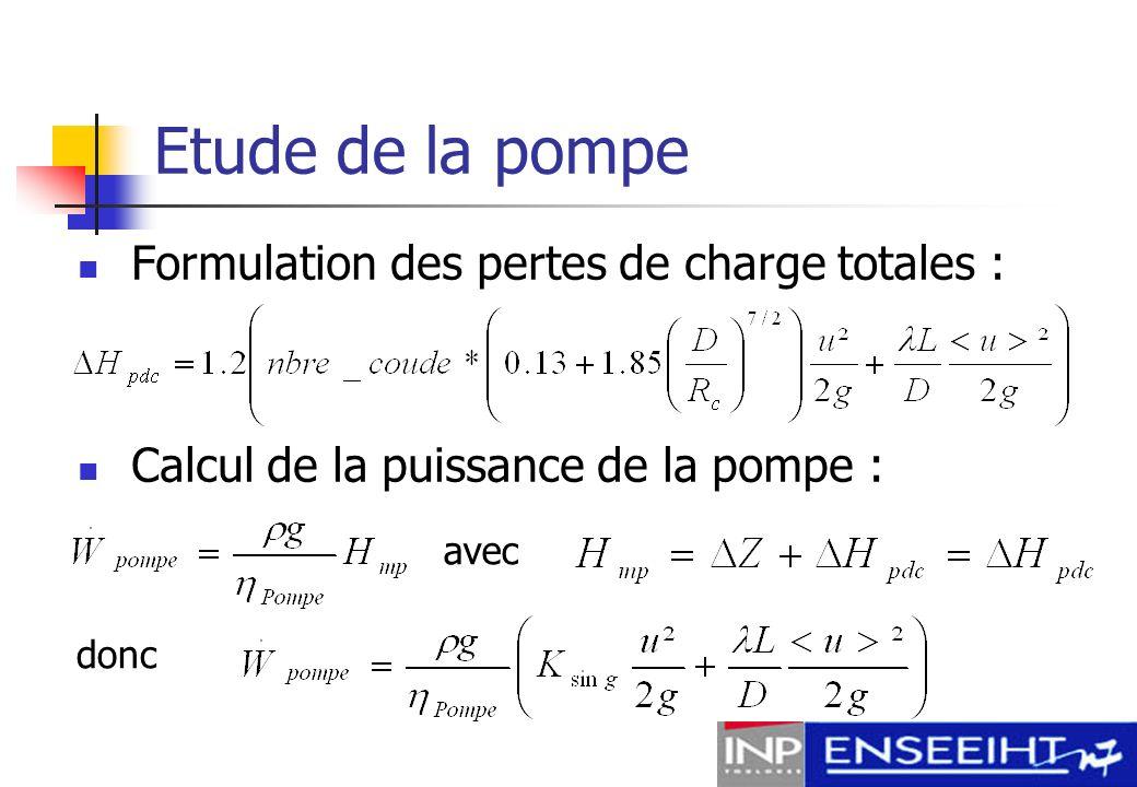 Etude de la pompe Formulation des pertes de charge totales :