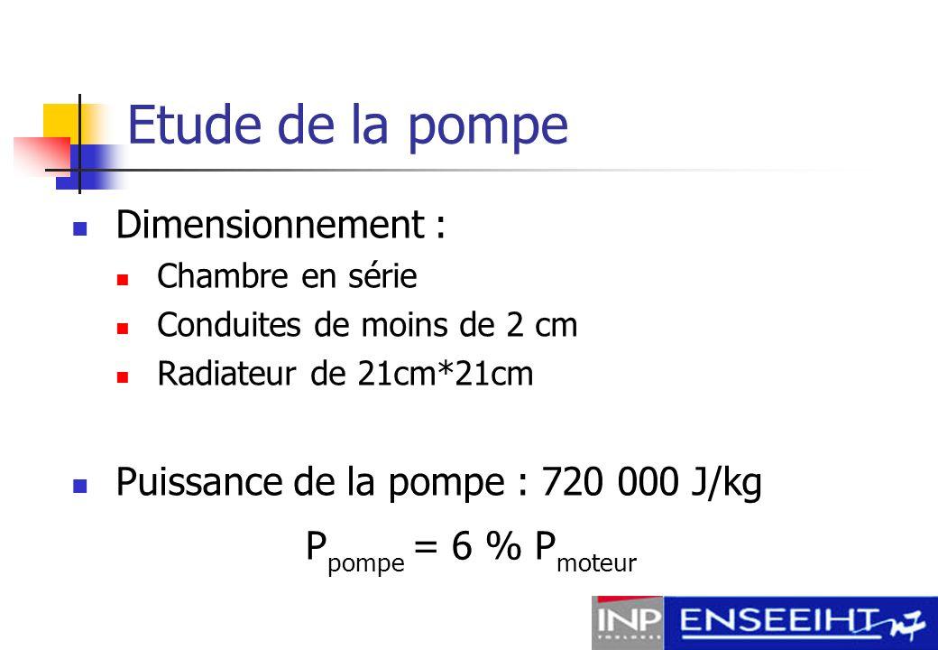 Etude de la pompe Dimensionnement :