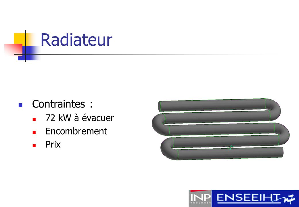 Radiateur Contraintes : 72 kW à évacuer Encombrement Prix