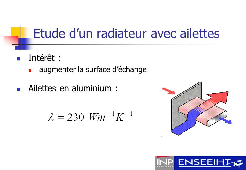 Etude d'un radiateur avec ailettes
